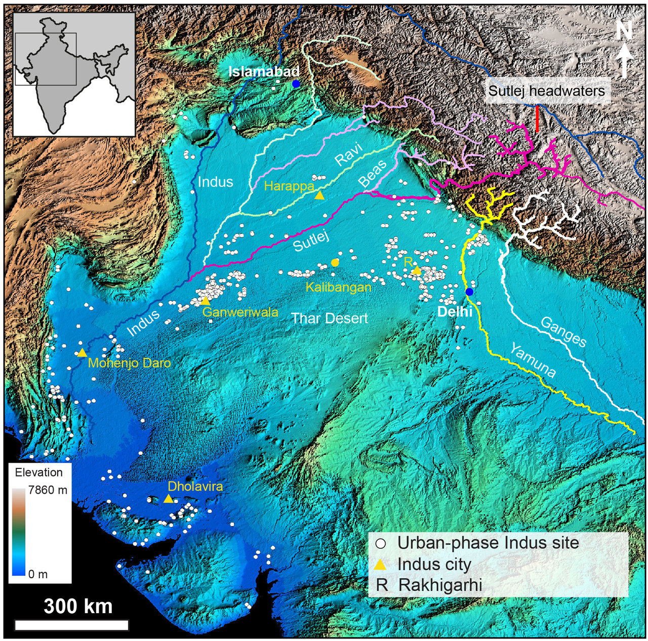 Scientists show how Himalayan rivers influenced ancient ... on map of ganges river, map of nineveh, map of india, map of tepe sialk, map of rome, map of mohenjo-daro, map of nabta playa, map of silk road, map of gupta empire, map of muslim rule, map of hindu kush, map of sparta, map of deccan plateau, map of western ghats, map of thebes, map of mesopotamia, map of kahror pacca, map of banpo, map of cahokia mounds, map of muridke,