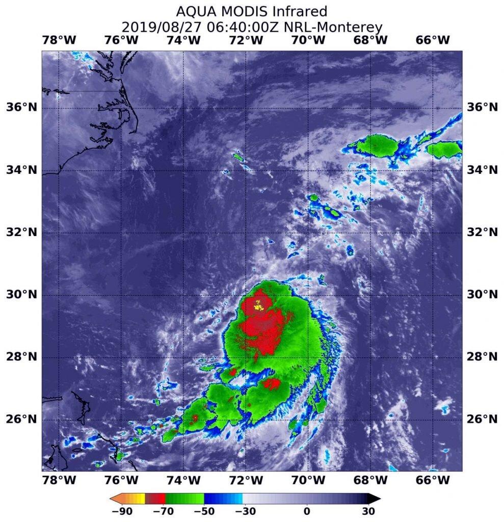 NASA finds Tropical Depression battling wind shear off the