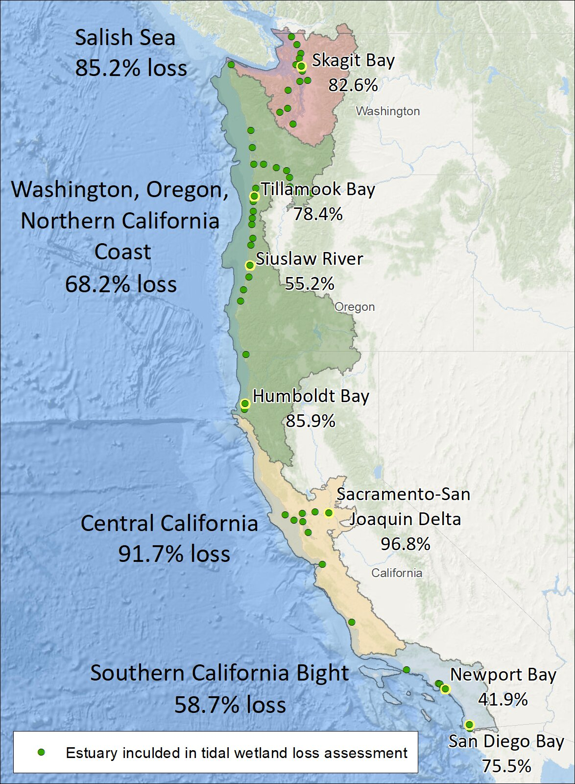 oregon west coast map New Mapping Reveals Lost West Coast Estuary Habitat oregon west coast map