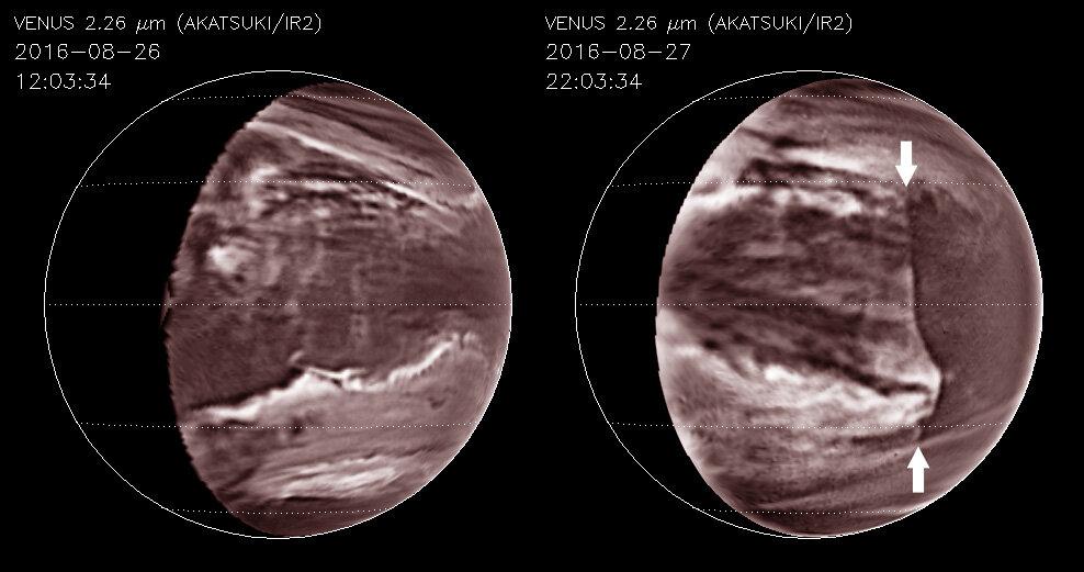 Venuše, narušení mraků hluboko v atmosféře