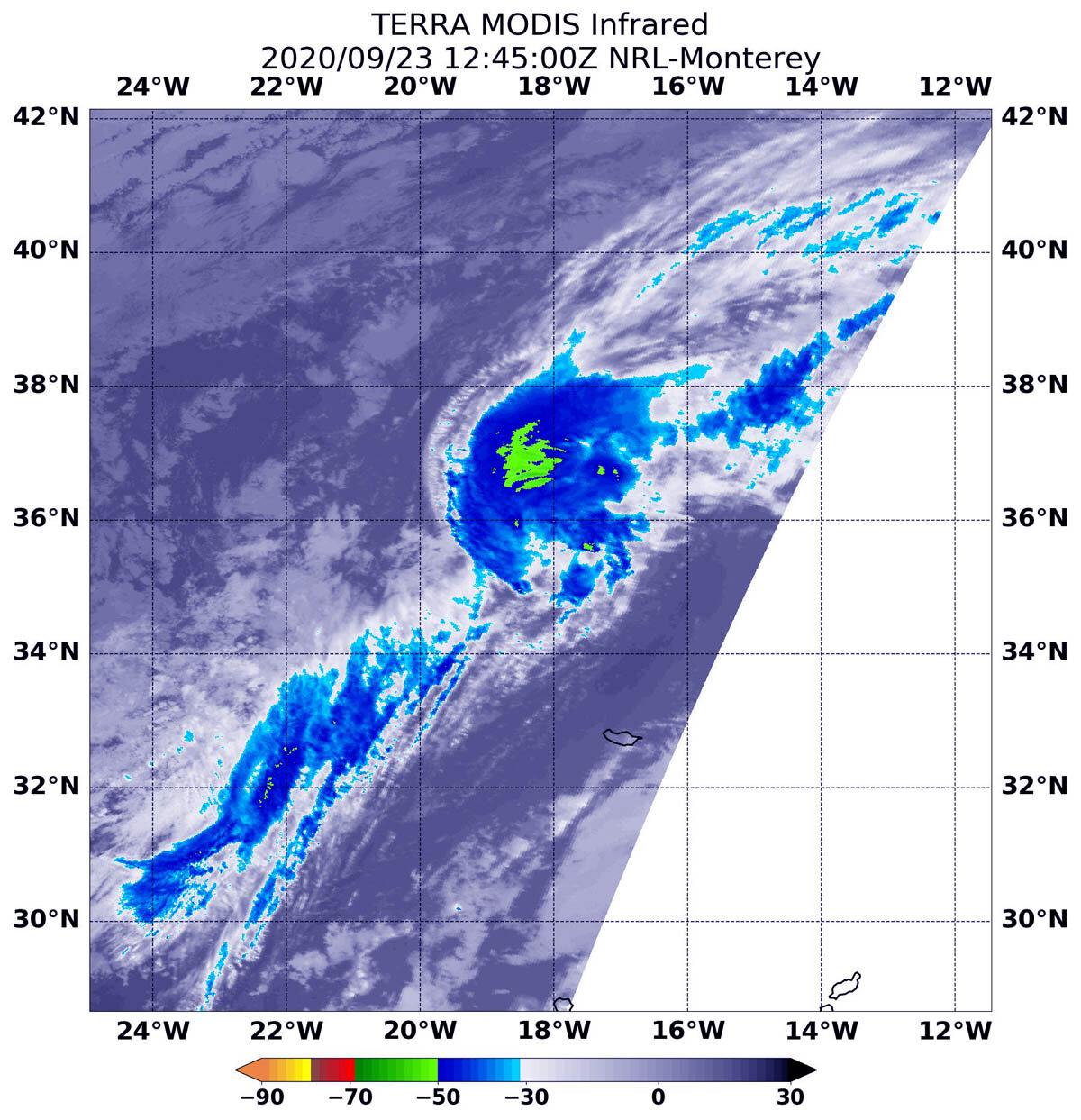 Terra satellite confirms Paulette`s second post-tropical transition