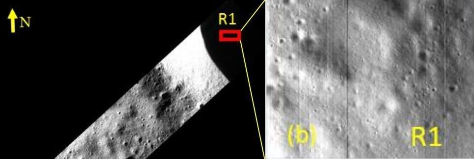 Měsíc, snímky neosvětleného kráteru