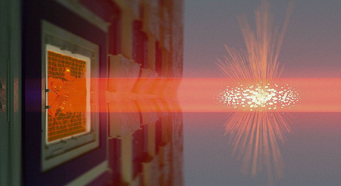 Quantum entanglement realized between distant large objects