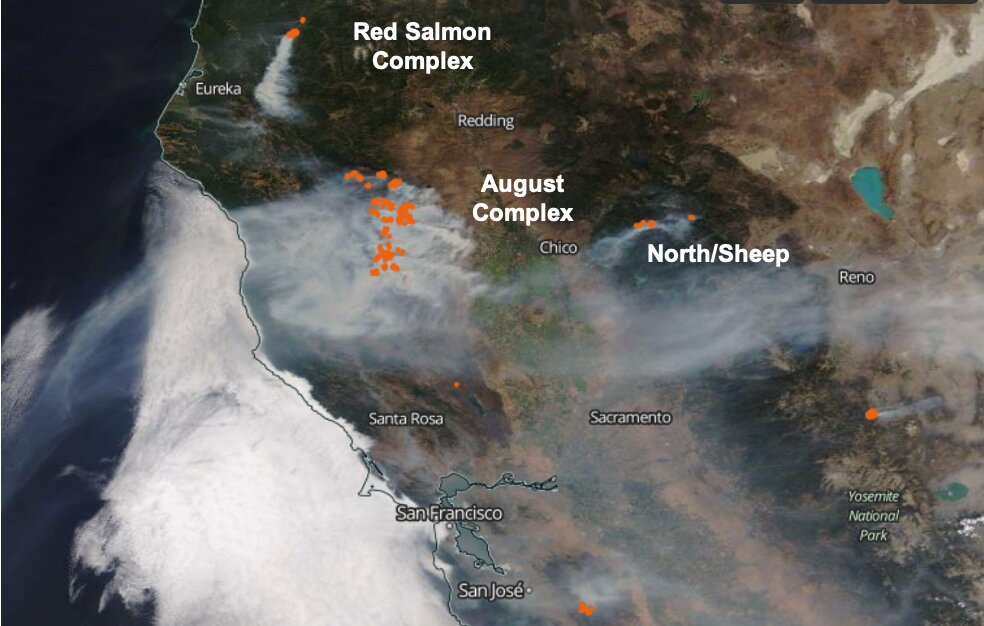 NASA observations aid efforts to track California's wildfire smoke from space