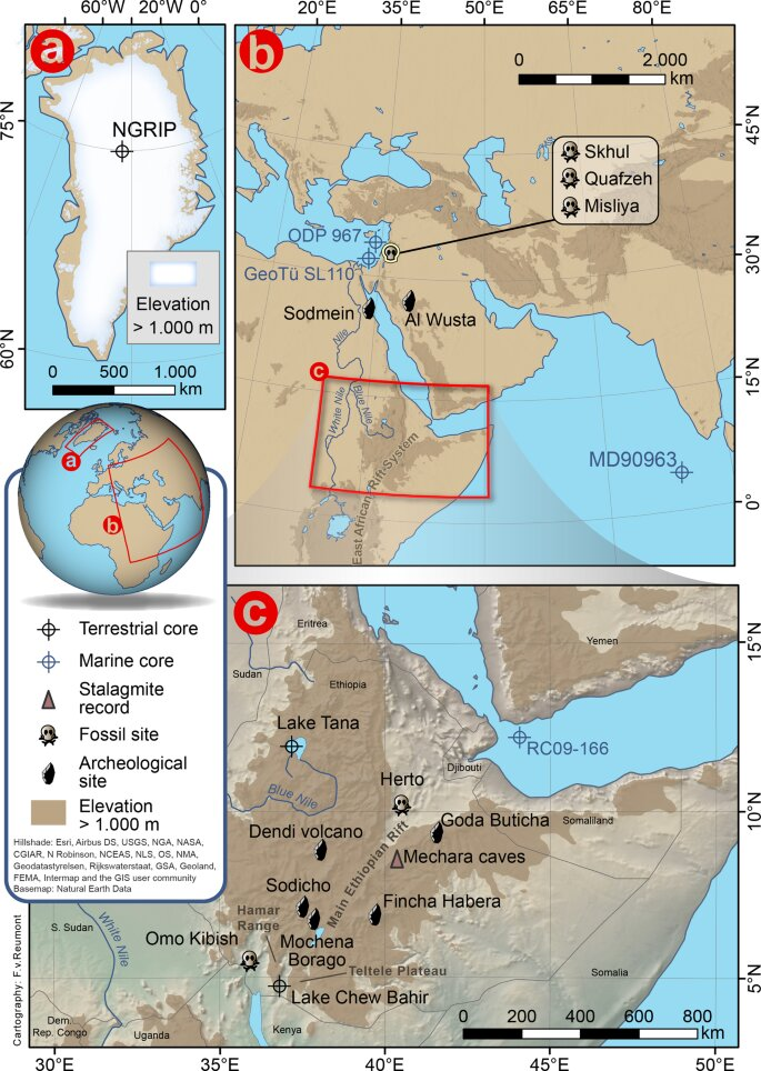 Climate conditions during the migration of Homo sapiens out of Africa reconstructed