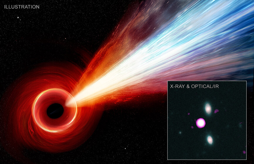 Gigantic jet spied from black hole in early universe