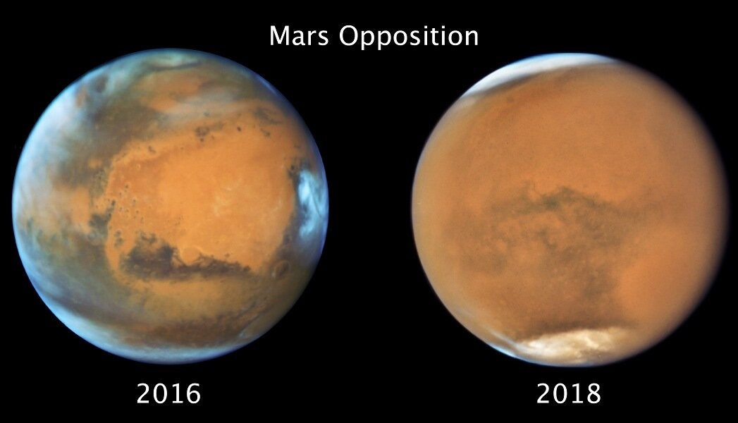 phys.org - Science X staff - Martian global dust storm ended winter early in the south