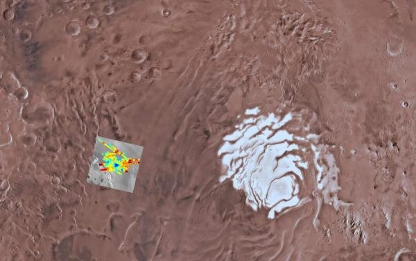Study sheds new light on composition at base of Martian southern polar cap