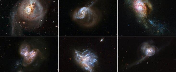 Hubble showcases six beautiful galaxy mergers