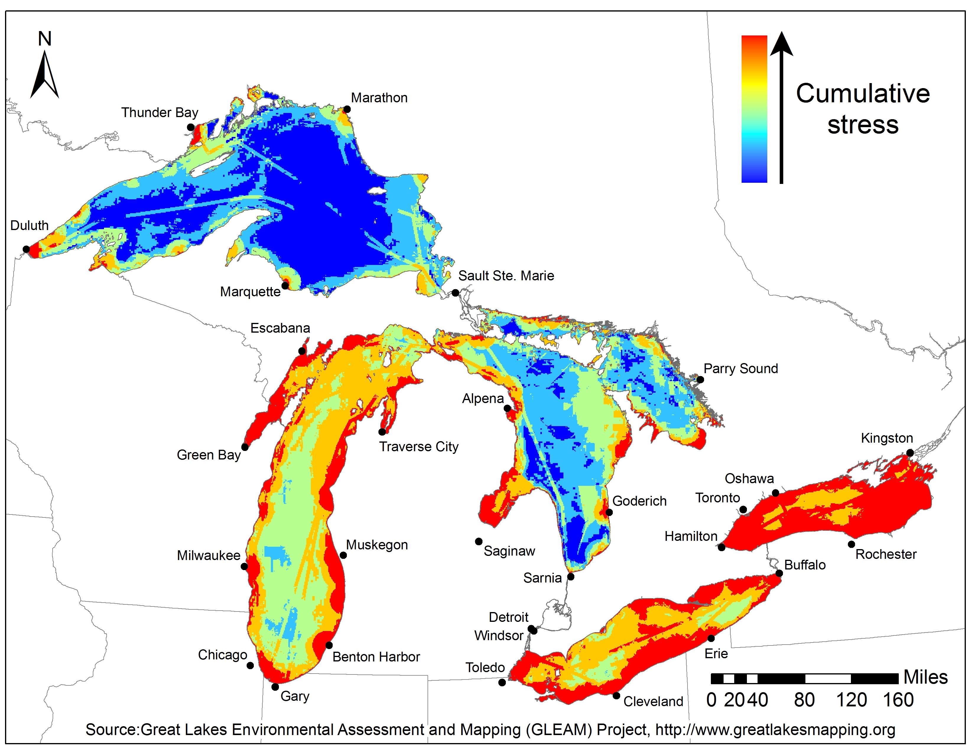 lake erie temperature map Environmental Threat Map Highlights Great Lakes Restoration Challenges lake erie temperature map