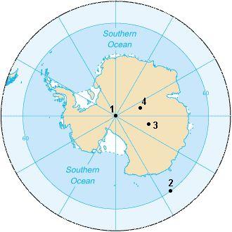Mappa dei diversi Polo Sud - Mappe dell'Antartide