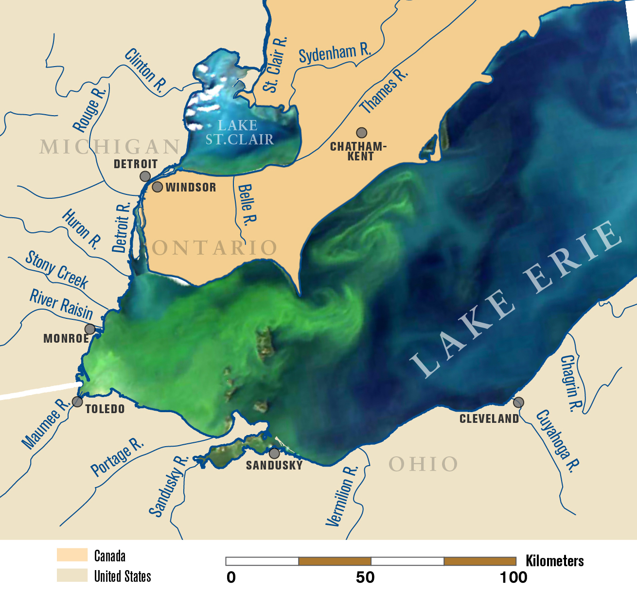 western lake erie map The New Normal Record Breaking 2011 Lake Erie Algae Bloom May Be western lake erie map