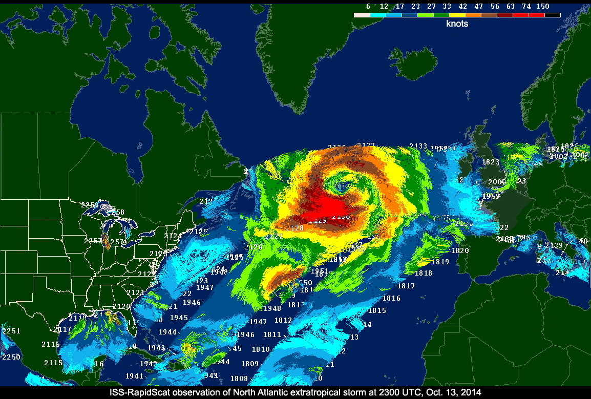 Atlantic Ocean Weather Map NASA's RapidScat ocean wind watcher starts Earth science operations