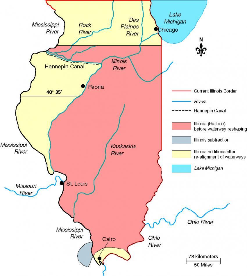Original northern border of Illinois was south of Chicago ... on big muddy river il map, southern illinois, magnolia manor, rosiclare il map, ferguson il map, kaskaskia river il map, ashburn il map, lincoln il map, cleveland il map, carmi il map, karnak il map, murphysboro il map, ohio river, olive branch, dayton il map, fort defiance, camp point il map, cape girardeau, cairo west virginia, harrisburg il map, du quoin il map, valmeyer il map, mount vernon, herrin il map, minneapolis il map, east st. louis, marion il map, lena il map,