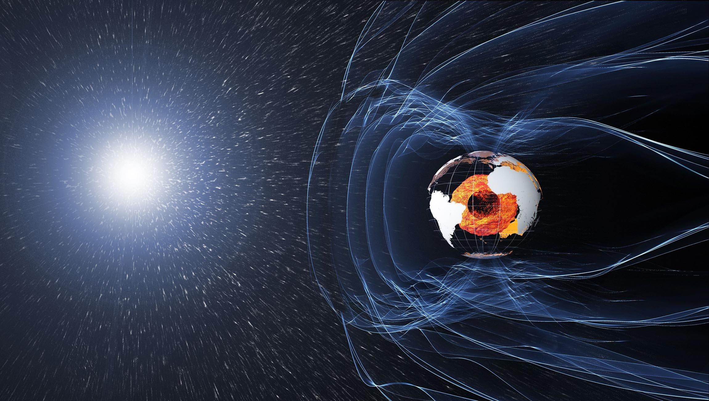 চিত্র ১: পৃথিবীর চৌম্বকীয় ক্ষেত্র কিভাবে সূর্যের ক্ষতিকর সৌর শক্তিকে প্রকিহত করছে চিত্রে দেখানো হল। Image credit - ESA/ATG medialab