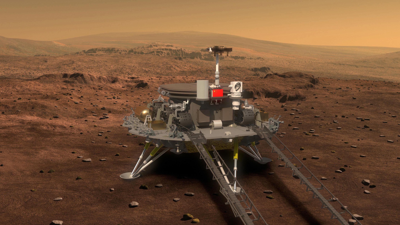 robot on Mars, a human on the moon