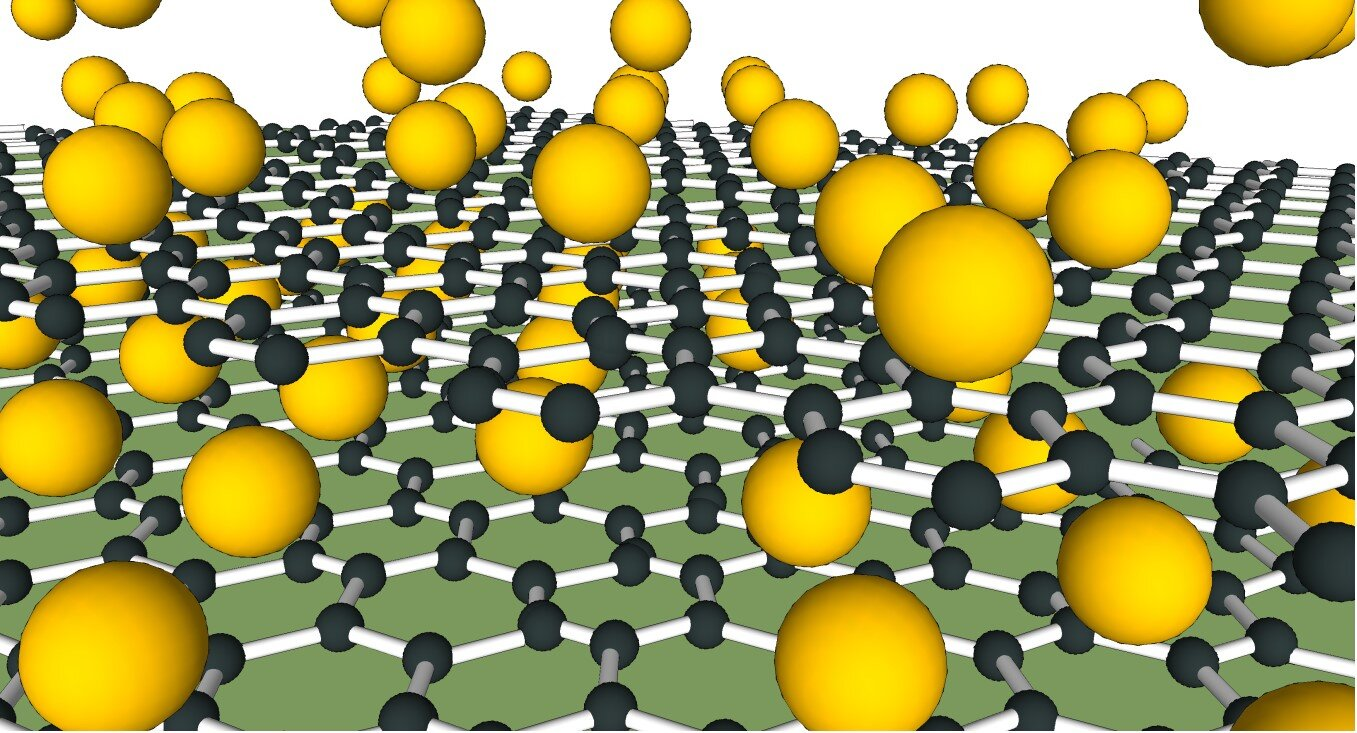 Floating graphene on a sheet of calcium atoms