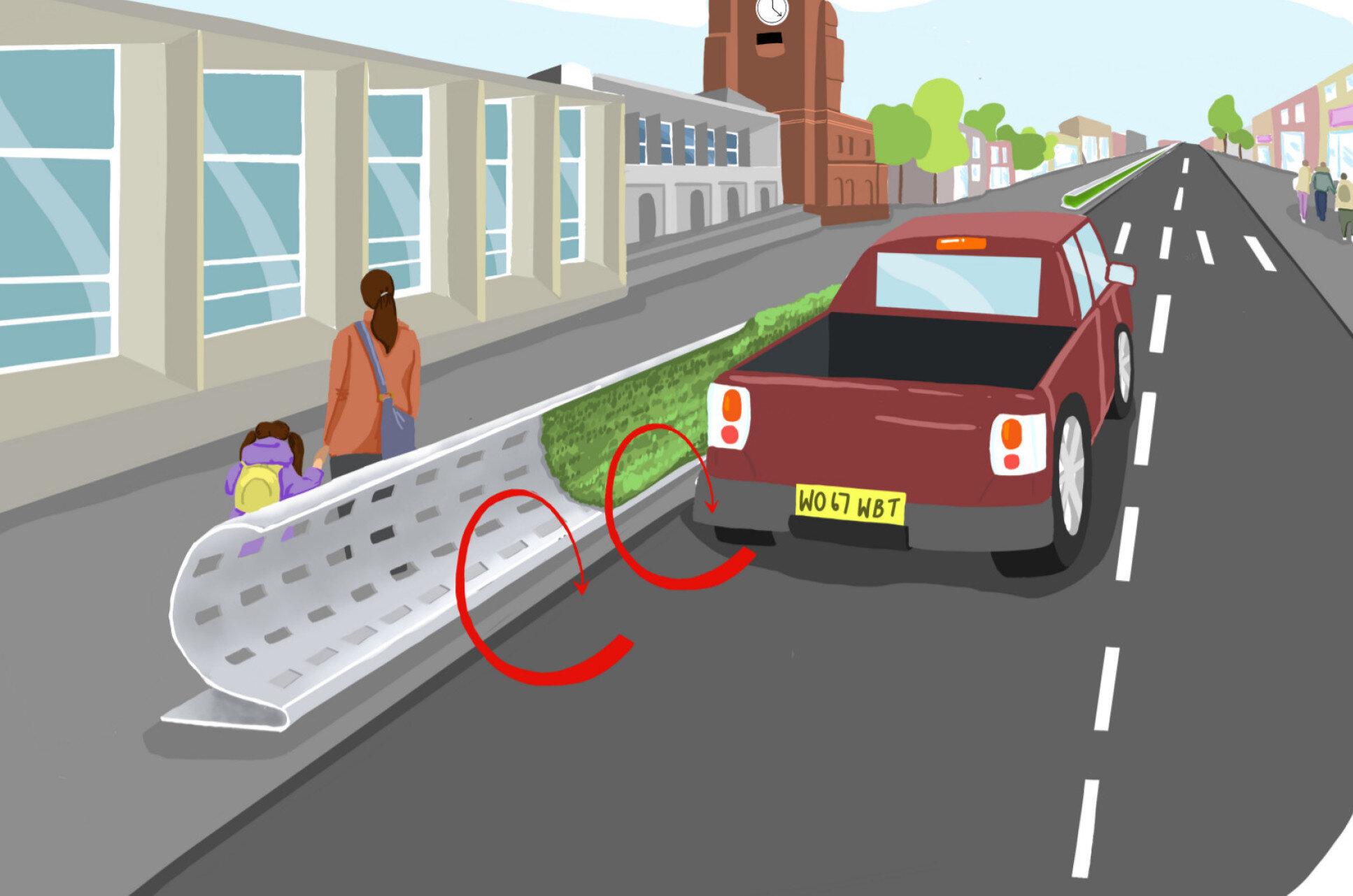 Researchers develop roadside barrier design to mitigate air pollution