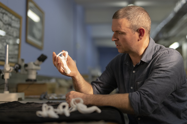 O professor Jonah Choiniere segurando um modelo impresso em 3D da lagena do dinossauro shuvuuia.