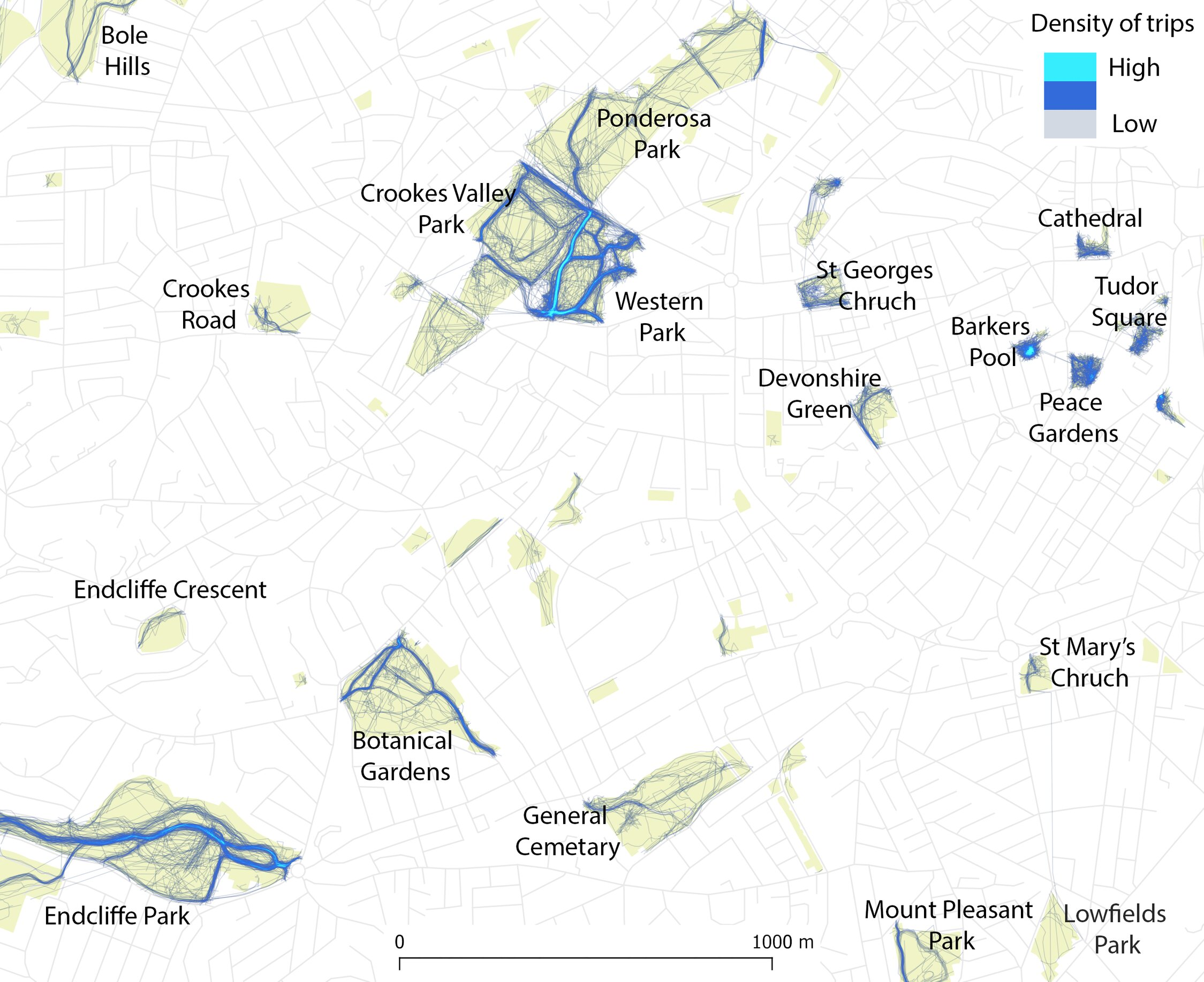 Mapping urban greenspace use with cellphone GPS data