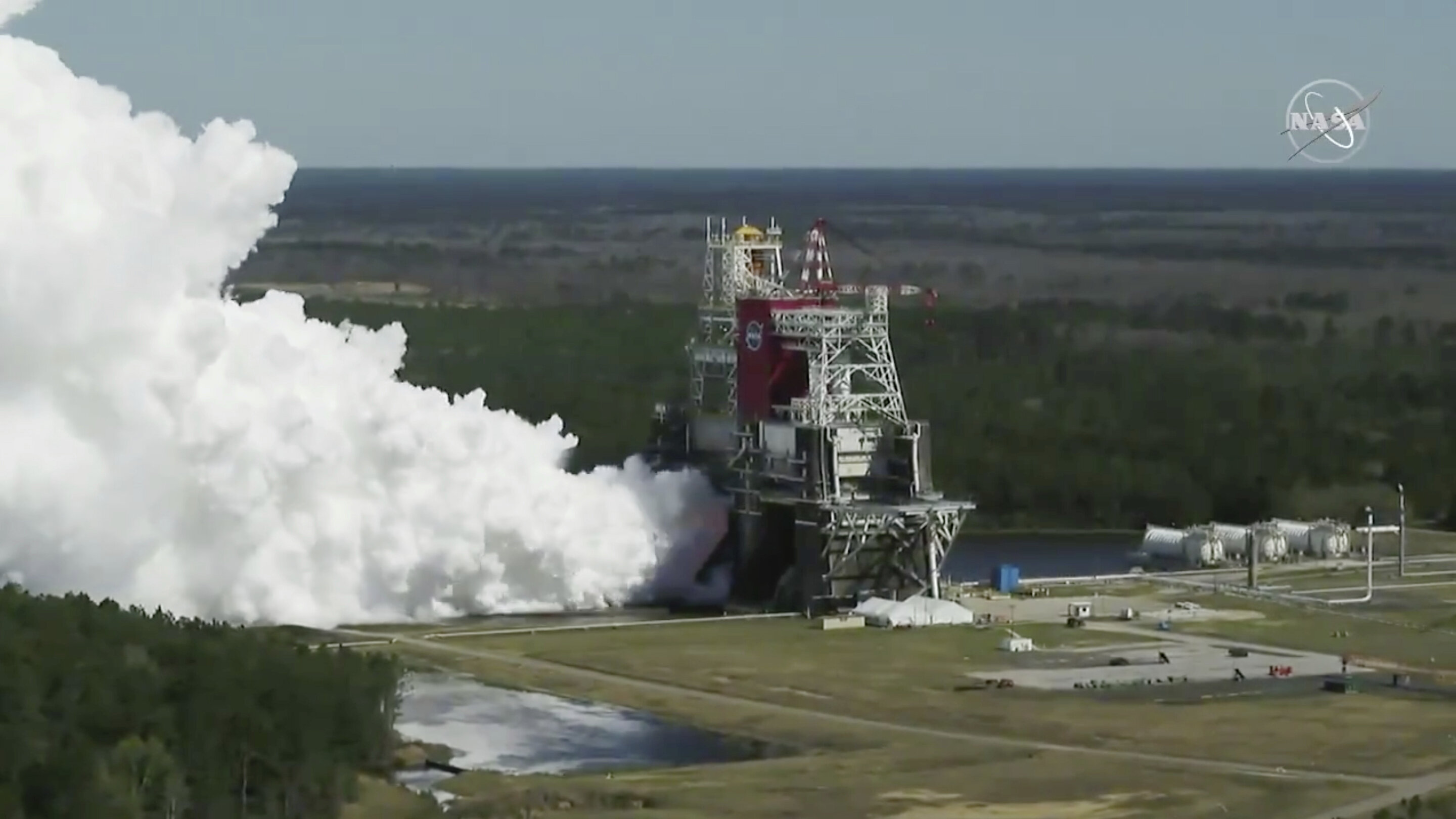 NASA completes engine test firing of moon rocket on 2nd try
