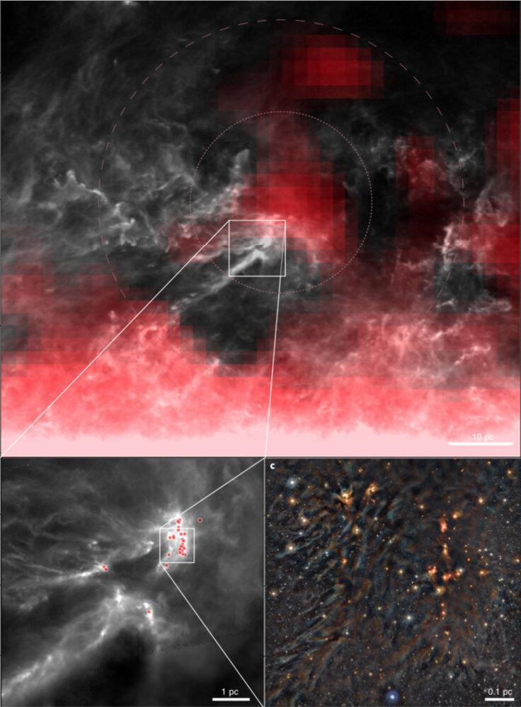 Zrod nových hvězd v regionu Ophiuchius