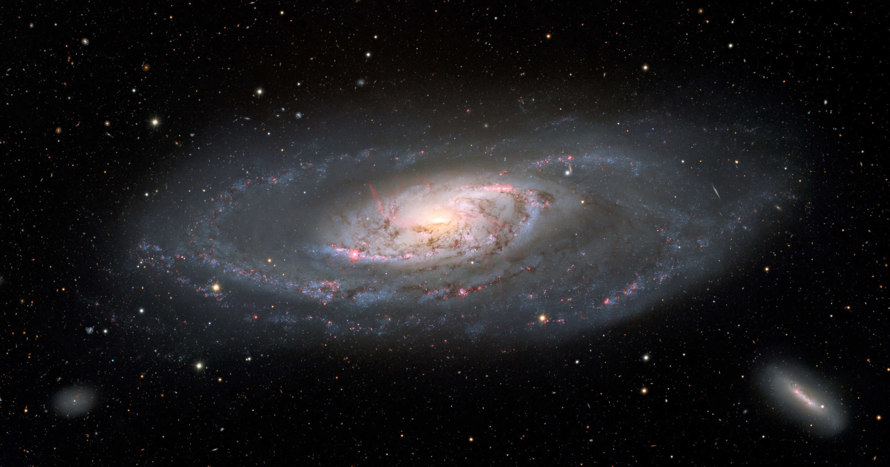 Striking new image of the stately galaxy Messier 106 taken with the Nicholas U. Mayall 4-meter Telescope